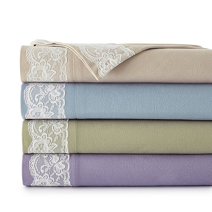 Alternate image 1 for Micro Flannel® Lace Edged Sheet Set