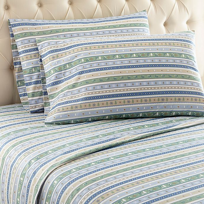 Micro Flannel Calico Stripe Sheet Set Bed Bath Beyond