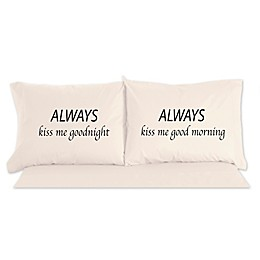 Micro Flannel® Always Kiss Me Goodnight Novelty Printed Pillowcases