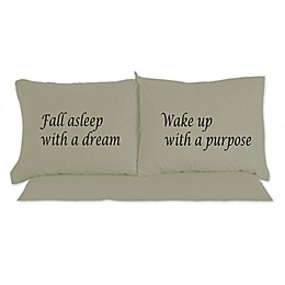 Micro Flannel®  Fall Asleep With A Dream Novelty Printed Pillowcases