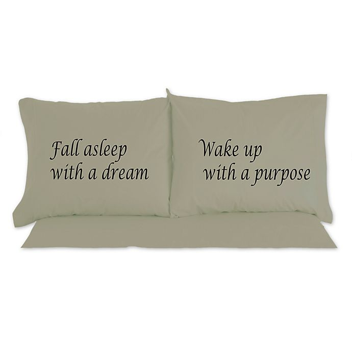 Alternate image 1 for Micro Flannel®  Fall Asleep With A Dream Novelty Printed Pillowcases
