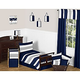 Sweet Jojo Designs Navy and Grey Stripe Toddler Bedding Collection