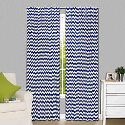 The Peanutshell™  Chevron Blackout Window Panel Pair in White/Navy