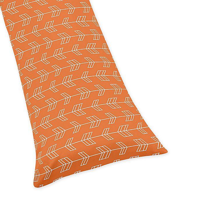 Alternate image 1 for Sweet Jojo Designs Arrow Body Pillowcase in Orange/Navy