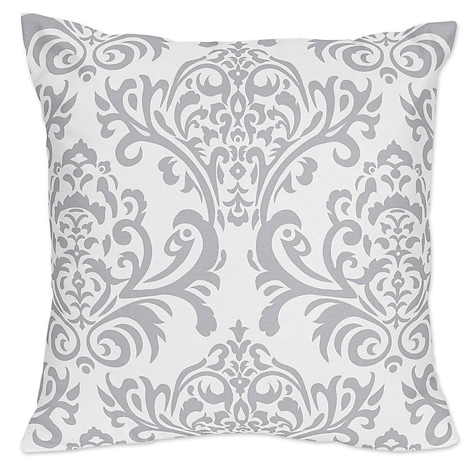 Alternate image 1 for Sweet Jojo Designs Skylar Damask Throw Pillow in Grey (Set of 2)