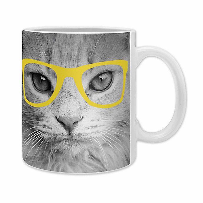 Alternate image 1 for Deny Designs Allyson Johnson Hippest Cat Mugs in Yellow (Set of 2)