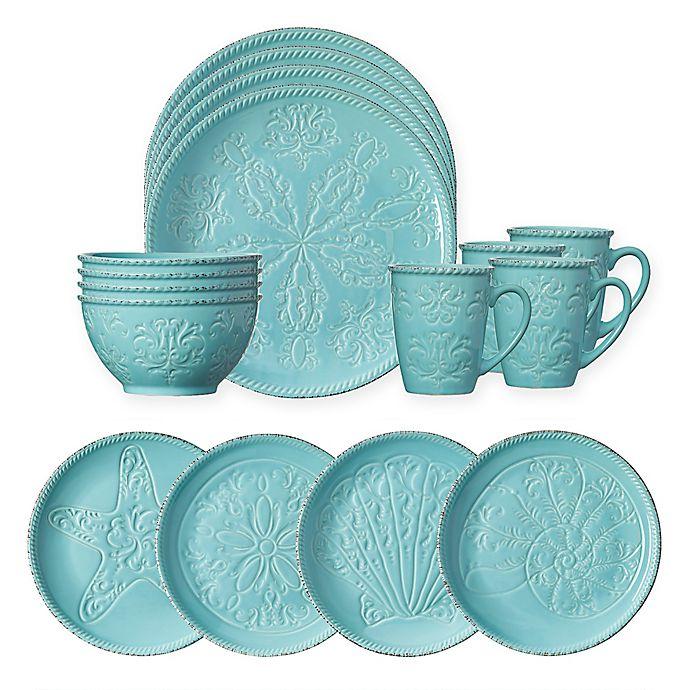 Alternate image 1 for Pfaltzgraff® Malibu 16-Piece Dinnerware Set in Teal