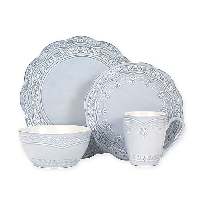 Alternate image 1 for Pfaltzgraff® Serephina 16-Piece Dinnerware Set in Blue