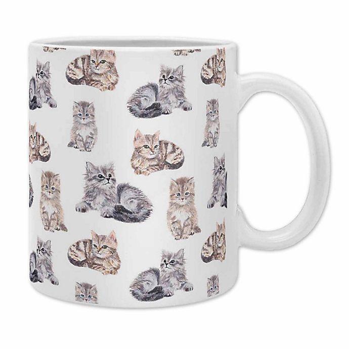 Alternate image 1 for Deny Designs Wonder Forest Smitten Kittens Coffee Mugs in Grey (Set of 2)