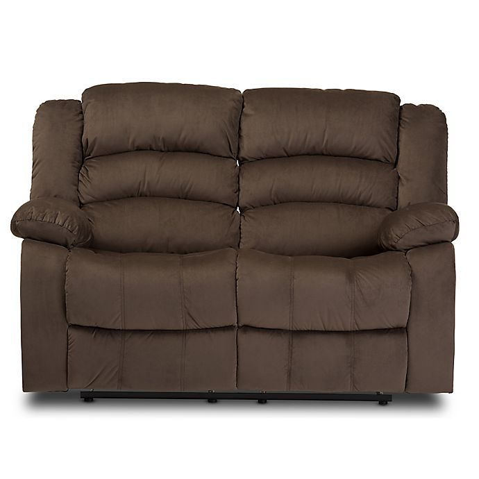 Brilliant Baxton Studio Microsuede 2 Seat Recliner In Taupe Bed Bath Ibusinesslaw Wood Chair Design Ideas Ibusinesslaworg