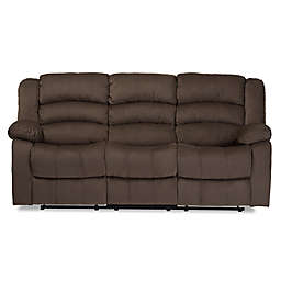 Baxton Studio Microsuede 3-Seat Recliner in Taupe