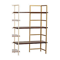 Sterling Industries Balart Shelf Unit Extender Bookcase in Walnut/Gold