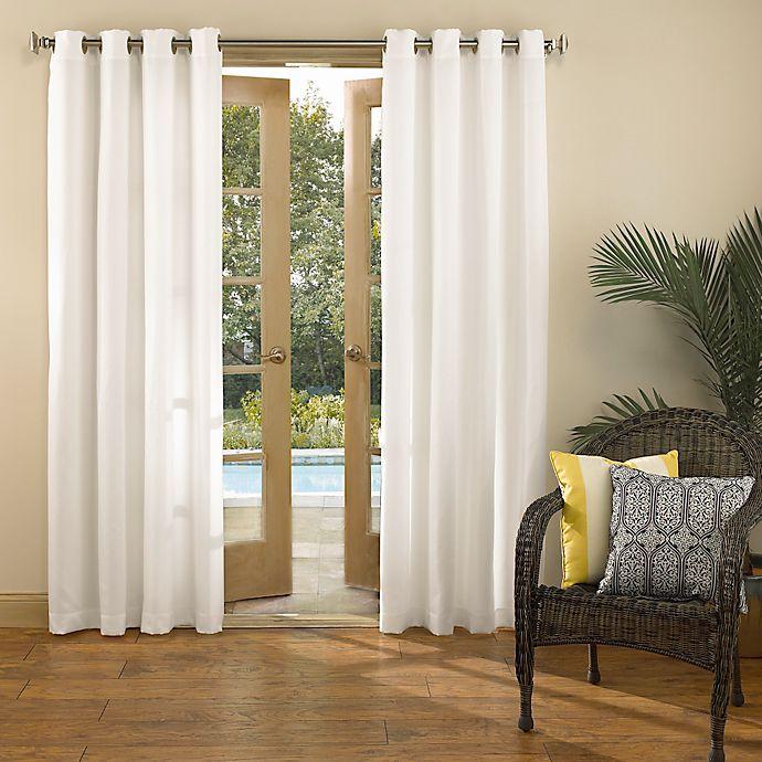 Alternate image 1 for Sun Zero Marlee 84-Inch Grommet Top Indoor/Outdoor Window Curtain Panel in White