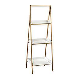 Kline Series Accent Shelf Bookcase in White/Gold