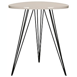 Safavieh Wolcott Lacquer Side Table in Taupe/Black