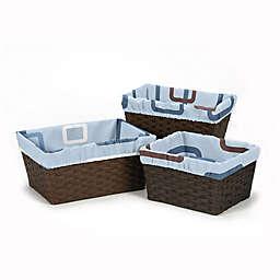 Sweet Jojo Designs Blue and Brown Geo 3-Piece Basket Liner Set
