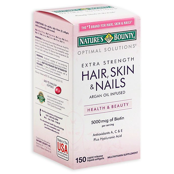 Alternate image 1 for Nature's Bounty 150-Count Extra Strength Hair, Skin & Nails with 5000 mcg of Biotin Caplets