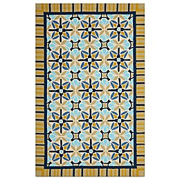 Safavieh Four Seasons Tile Border Rug in Tan/Blue