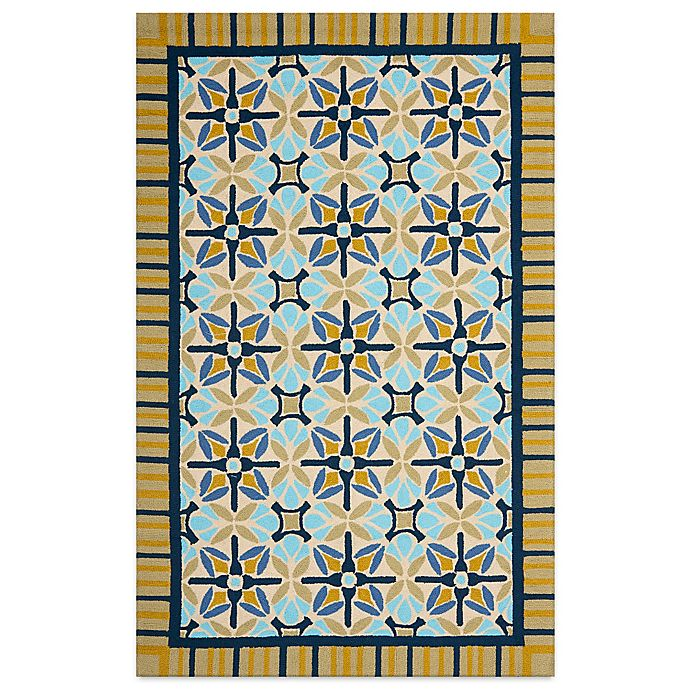 Alternate image 1 for Safavieh Four Seasons Tile Border 3-Foot 6-Inch x 5-Foot 6-Inch Rug in Tan/Blue