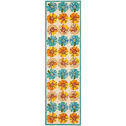 Safavieh Four Seasons Hibiscus 2-Foot 3-Inch x 6-Foot Runner in Ivory/Blue