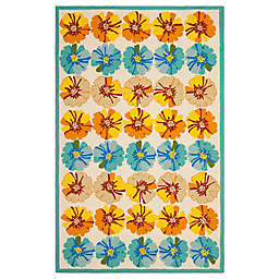 Safavieh Four Seasons Hibiscus 5-Foot x 8-Foot Area Rug in Ivory/Blue