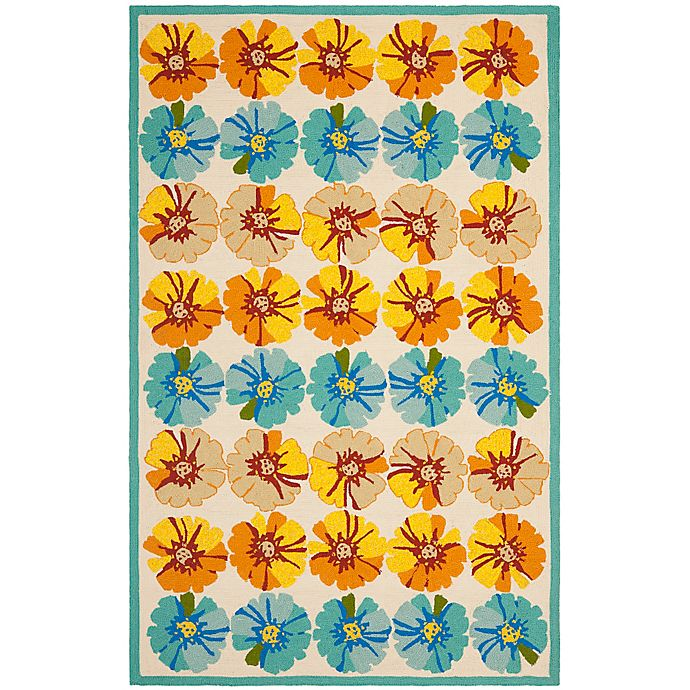 Alternate image 1 for Safavieh Four Seasons Hibiscus 8-Foot x 10-Foot Area Rug in Ivory/Blue