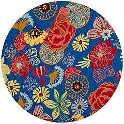Safavieh Four Seasons Asian Floral 4-Foot Round Area Rug in Blue/Red