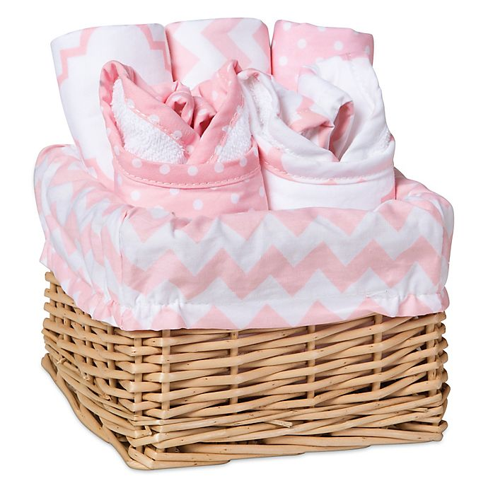 Alternate image 1 for Trend Lab® 7-Piece Feeding Basket Gift Set in Pink Sky