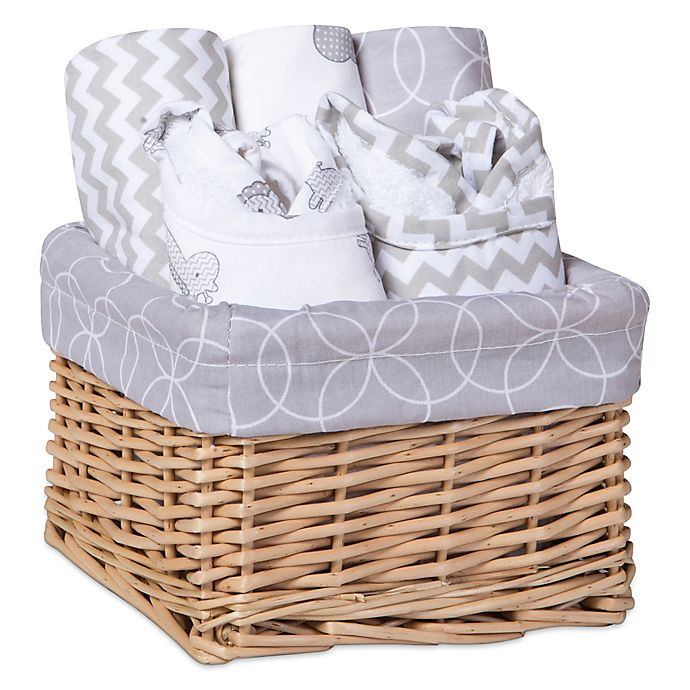 Alternate image 1 for Trend Lab® 7-Piece Feeding Basket Gift Set in Safari Grey