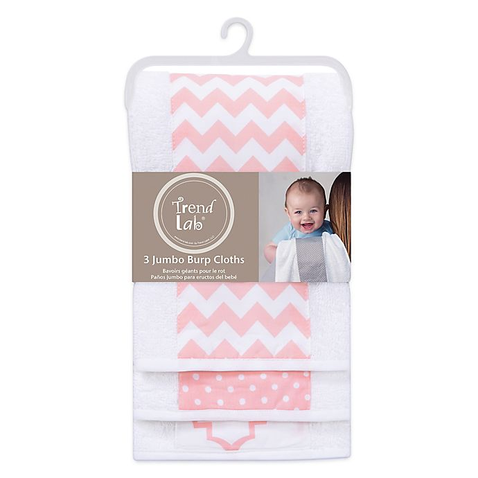 Alternate image 1 for Trend Lab® 3-Pack Jumbo Burp Cloth Set in Pink Sky