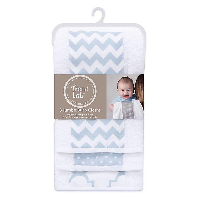 Alternate image 1 for Trend Lab® 3-Pack Jumbo Burp Cloth Set in Blue Sky