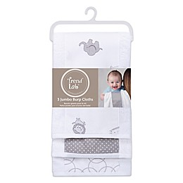 Trend Lab® 3-Pack Jumbo Burp Cloth Set in Safari Grey