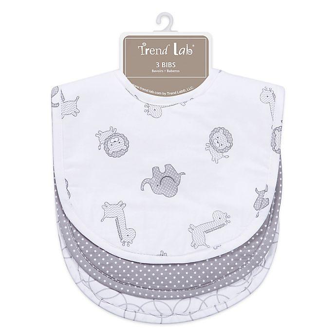 Alternate image 1 for Trend Lab® 3-Pack Bib Set in Safari Grey