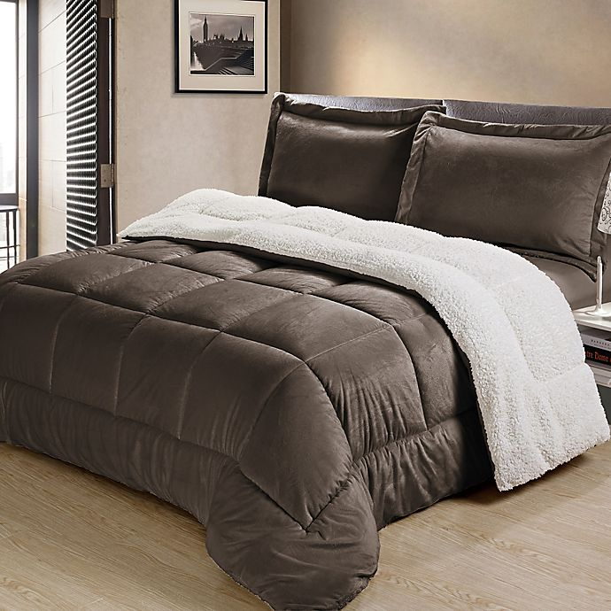 Alternate image 1 for Sherpa Down Alternative 3-Piece Full Comforter Set in Chocolate