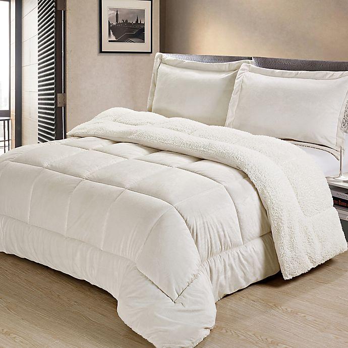 Alternate image 1 for Sherpa Down Alternative 3-Piece Full Comforter Set in Ivory