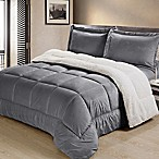 Sherpa Down Alternative 3-Piece King Comforter Set in Pewter