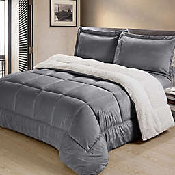 Cathay Home Sherpa Down Alternative 3-Piece Reversible Queen Comforter Set in Pewter