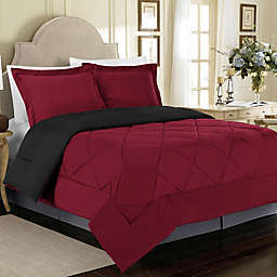 Solid 3-Piece Reversible King Comforter Set in Burgundy