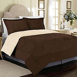 Solid 3-Piece Reversible King Comforter Set in Chocolate/Cream