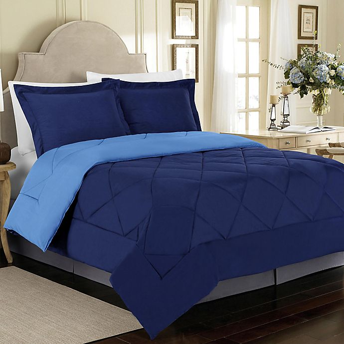 Alternate image 1 for Solid 2-Piece Reversible Twin Comforter Set in Navy
