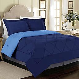 Solid 3-Piece Reversible King Comforter Set in Navy