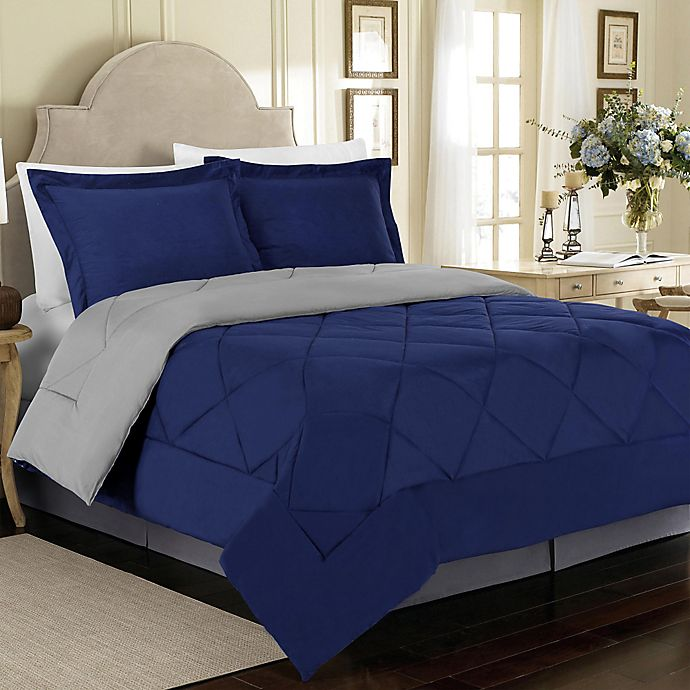 Alternate image 1 for Solid 3-Piece Reversible King Comforter Set in Blue