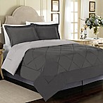 Solid 3-Piece Reversible King Comforter Set in Charcoal/Silver