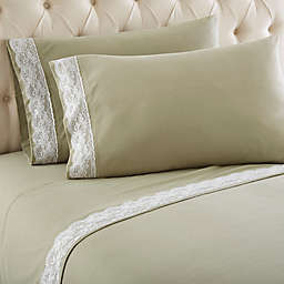 Micro Flannel® Lace Edged California King Sheet Set in Meadow