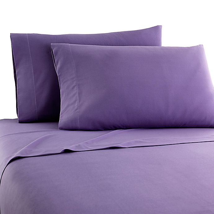Alternate image 1 for Micro Flannel® Solid California King Sheet Set in Plum