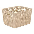 Simplify Large Herringbone Storage Tote in Taupe