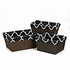 Sweet Jojo Designs Trellis Basket Liners in Black and White (Set of 3)