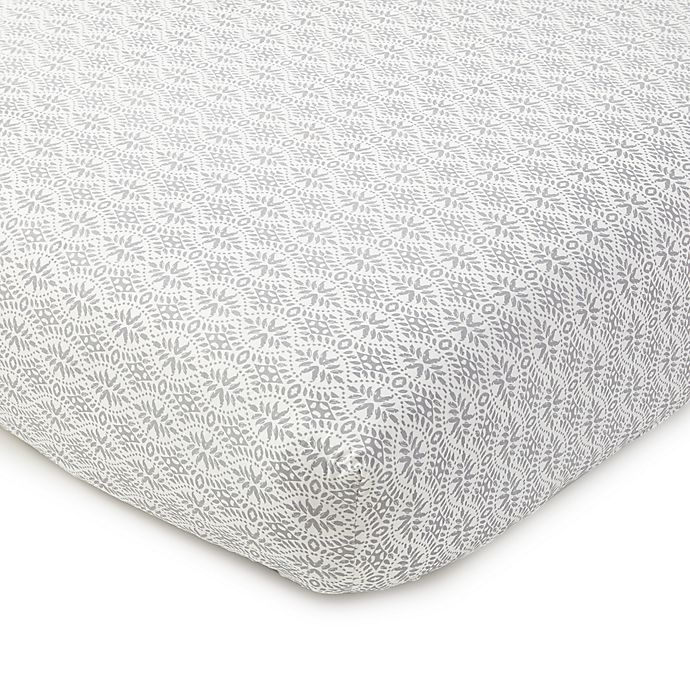 Alternate image 1 for Levtex Baby® Kenya Fitted Crib Sheet in Grey