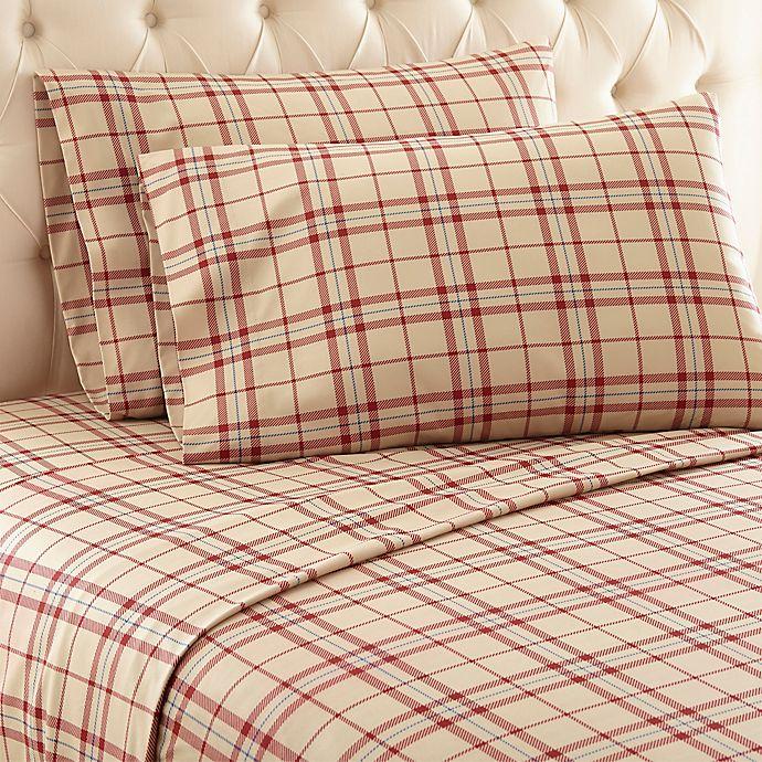 Alternate image 1 for Micro Flannel® Carlton Plaid Full Sheet Set in Tan
