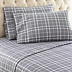 Micro Flannel® Carlton Plaid Queen Sheet Set in Grey
